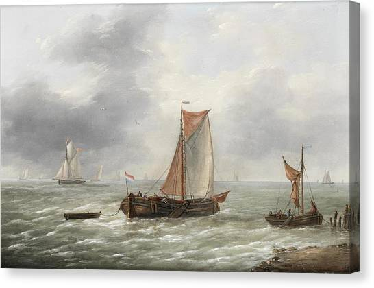 Ply Canvas Print - Dutch Barges And Other Craft Plying Their Trade by MotionAge Designs