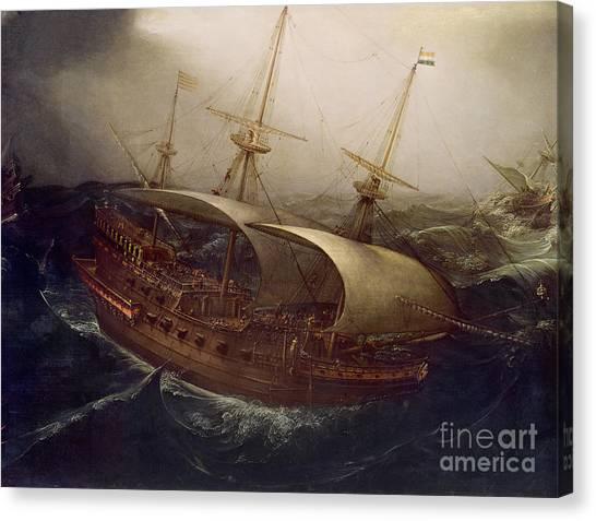 Battleship Canvas Print - Dutch Battleship In A Storm by Hendrick Cornelisz Vroom