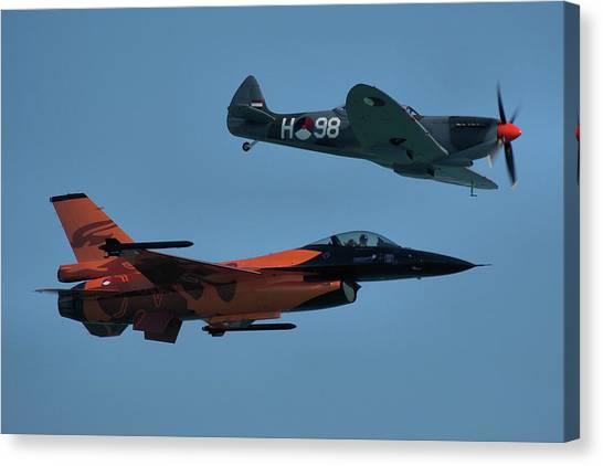 Dutch F-16 And Spitfire Canvas Print
