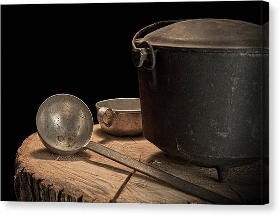 Black Top Canvas Print - Dutch Oven And Ladle by Tom Mc Nemar