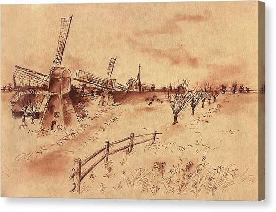 Dutch Windmills Canvas Print by Ernestine Grindal