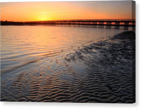 Duxbury Beach Powder Point Bridge Sunset Canvas Print