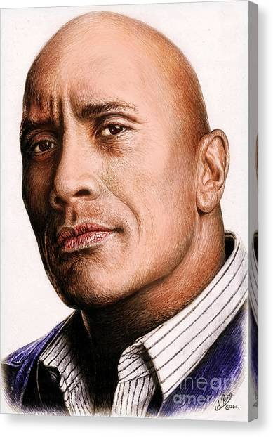 Dwayne Johnson Canvas Print - Dwayne Johnson Color by Andrew Read