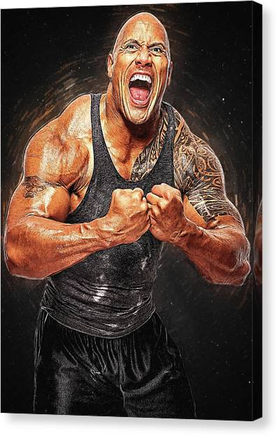 Dwayne Johnson Canvas Print - Dwayne Johnson by Semih Yurdabak