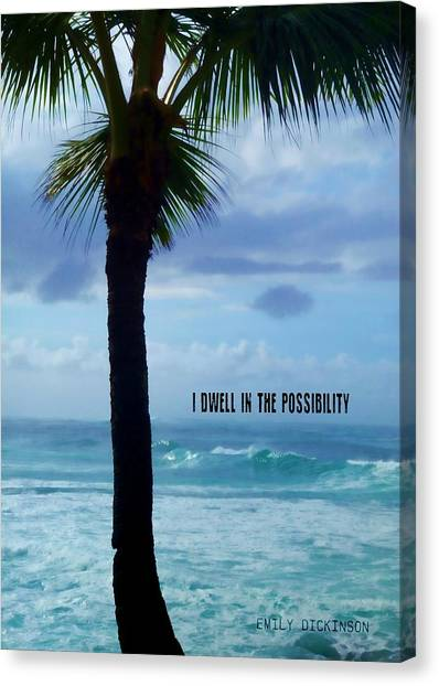 Dwell In Paradise Quote Canvas Print