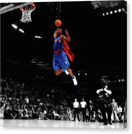 Dwight Howard Canvas Print - Dwight Howard As Superman by Brian Reaves