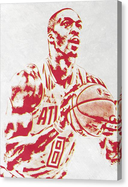 Dwight Howard Canvas Print - Dwight Howard Atlanta Hawks Pixel Art by Joe Hamilton