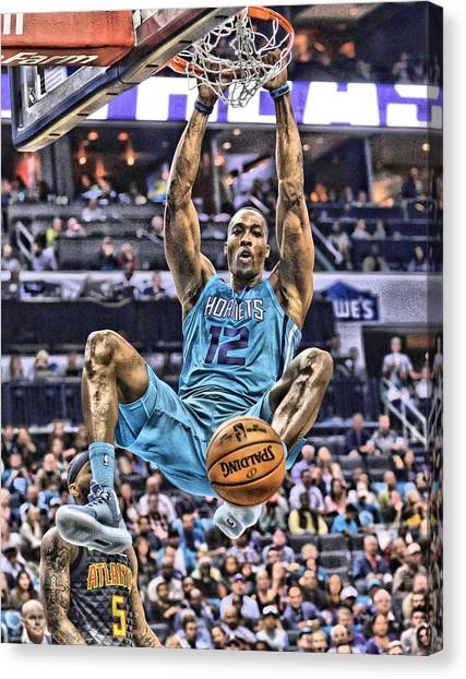 Dwight Howard Canvas Print - Dwight Howard Charlotte Hornets Player Art 1 by Joe Hamilton