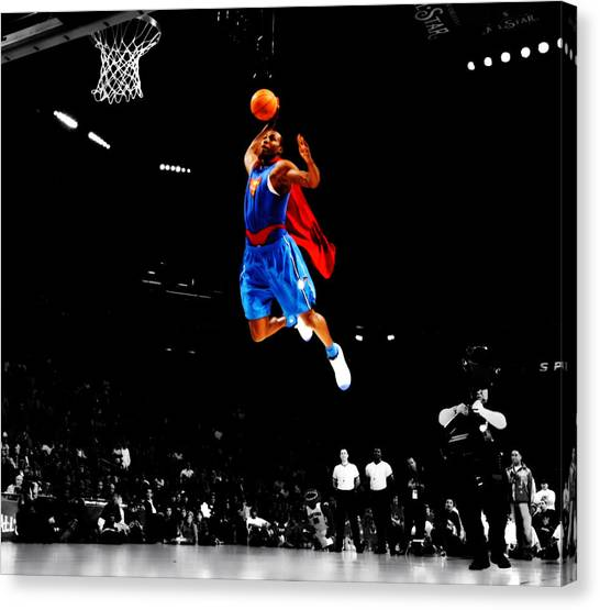 Dwight Howard Canvas Print - Dwight Howard Superman Dunk by Brian Reaves