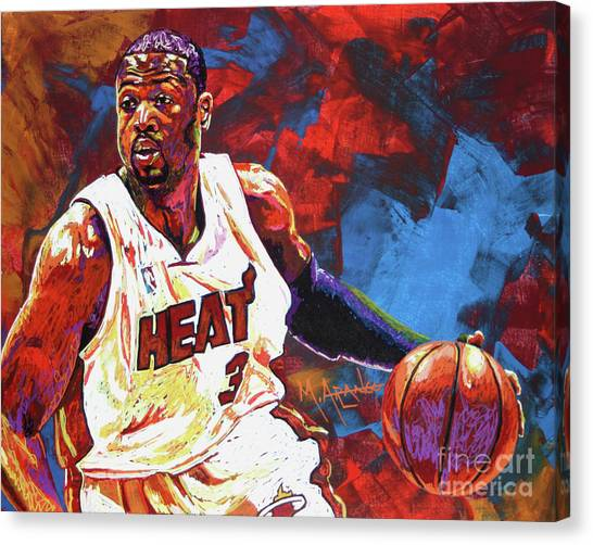 Miami Heat Canvas Print - Dwyane Wade 2 by Maria Arango