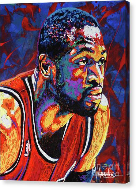 Chicago Bulls Canvas Print - Dwyane Wade 3 by Maria Arango
