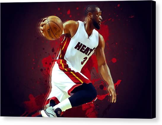 Dwight Howard Canvas Print - Dwyane Wade by Semih Yurdabak