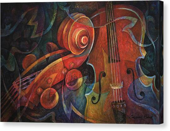 Stringed Instruments Canvas Print - Dynamic Duo - Cello And Scroll by Susanne Clark