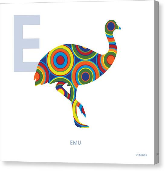 Emus Canvas Print - E Is For Emu by Ron Magnes