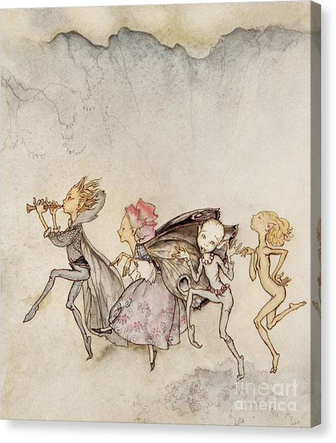 Shakespeare Canvas Print - Each One, Tripping On His Toe, Will Be Here With Mop And Mow by Arthur Rackham