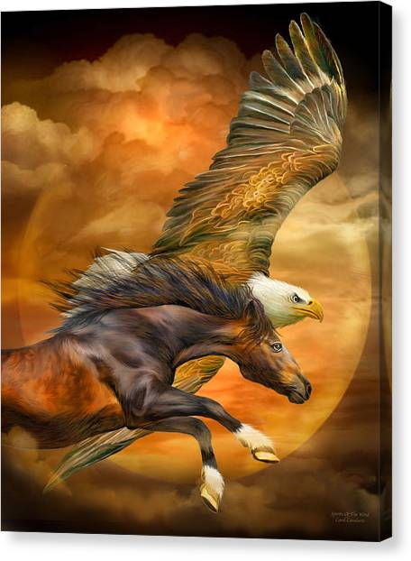 Chestnut Canvas Print - Eagle And Horse - Spirits Of The Wind by Carol Cavalaris