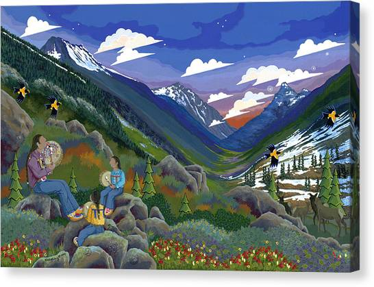 Canvas Print featuring the painting Eagle Boys Learn To Sing by Chholing Taha