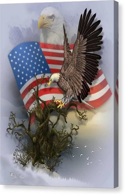Eagle Lands Canvas Print
