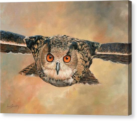 Eagle In Flight Canvas Print - Eagle Owl by David Stribbling