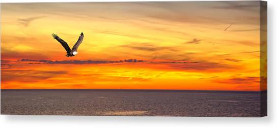 Eagle Panorama Sunset Canvas Print