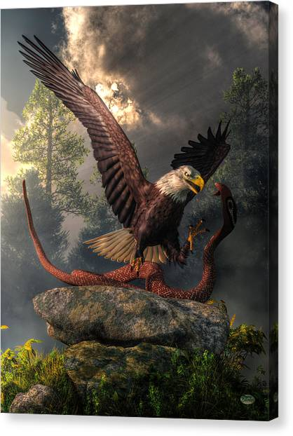 Kung Fu Canvas Print - Eagle Vs Cobra by Daniel Eskridge