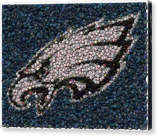 Philly Canvas Print - Eagles Bottle Cap Mosaic by Paul Van Scott