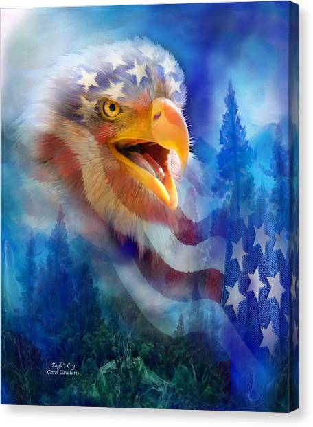 Crying Canvas Print - Eagle's Cry by Carol Cavalaris