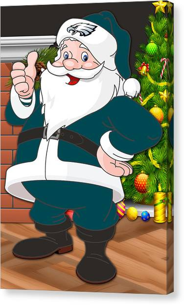 Philadelphia Eagles Canvas Print - Eagles Santa Claus by Joe Hamilton