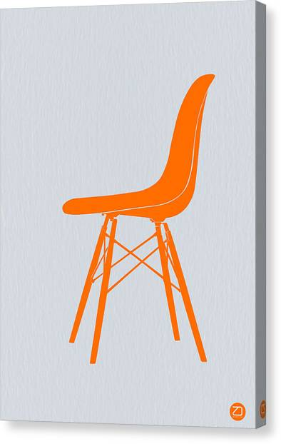 Stool Canvas Print - Eames Fiberglass Chair Orange by Naxart Studio