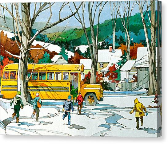 Early Bus Canvas Print by Art Scholz