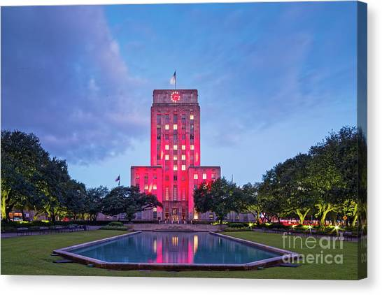 Houston Skyline Canvas Print - Early Dawn Architectural Photograph Of Houston City Hall And Hermann Square - Downtown Houston Texas by Silvio Ligutti