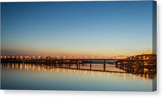 Early Evening Bridge At Sunset Canvas Print