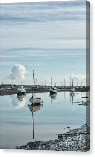 Dinghy Canvas Print - Early Morning At Brancaster Staithe Norfolk Uk by John Edwards