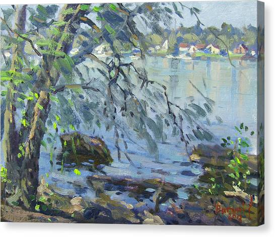 Early Canvas Print - Early Morning At Fisherman's Park by Ylli Haruni