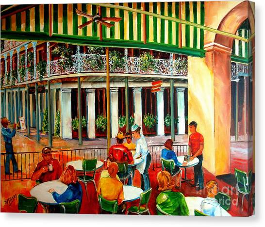 Music Stand Canvas Print - Early Morning At The Cafe Du Monde by Diane Millsap