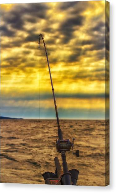 Fishing Poles Canvas Print - Early Morning Bite by Bill Tiepelman
