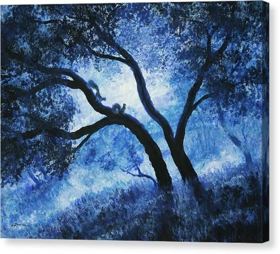 Squirrels Canvas Print - Early Morning Blues At Rancho San Antonio by Laura Iverson