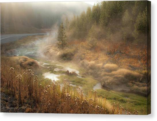 Early Morning Fog Yellowstone Np Canvas Print