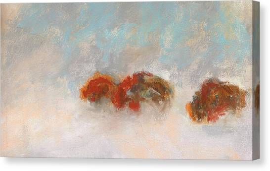 Bison Canvas Print - Early Morning Herd by Frances Marino