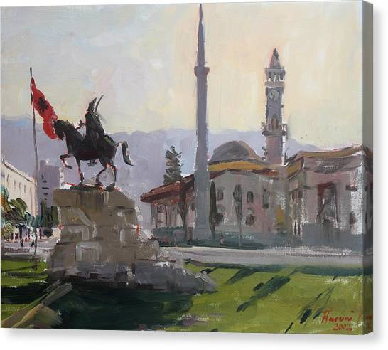 Clock Canvas Print - Early Morning In Tirana by Ylli Haruni
