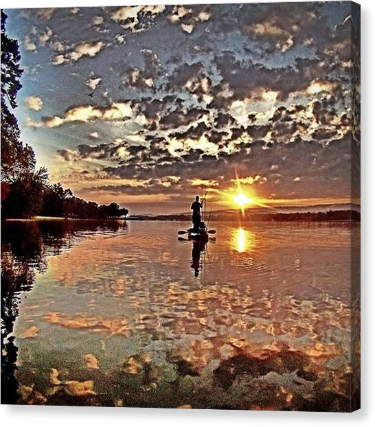 Bass Fishing Canvas Print - Early Morning #kayakfishing #kayaking by Richard Sloan Finnerty