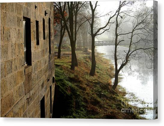 Early Morning Mist On The I  M Canal Canvas Print