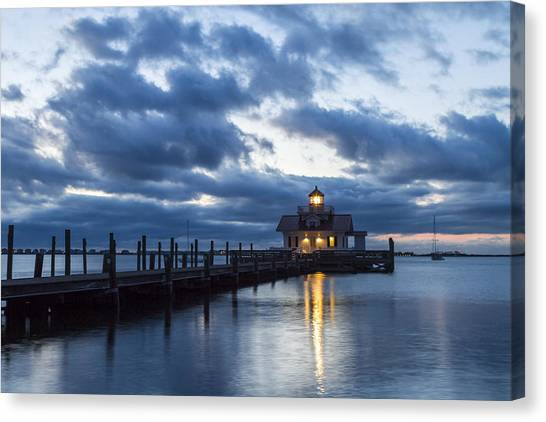 Early Morning Over Roanoke Marshes Lighthouse Canvas Print