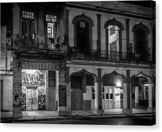 Prado Canvas Print - Early Morning Paseo Del Prado Havana Cuba Bw by Joan Carroll