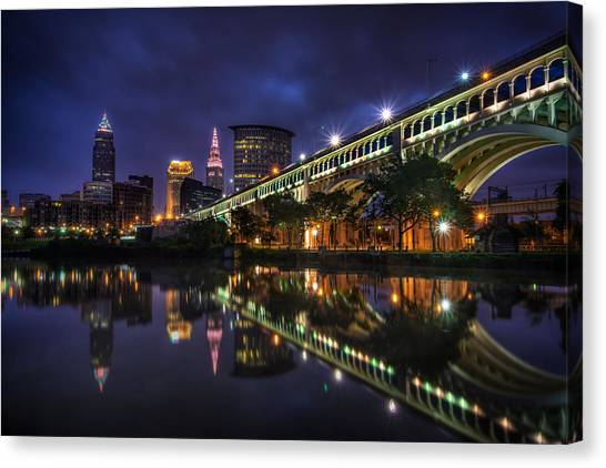 Early Morning Riverside In Cleveland Canvas Print