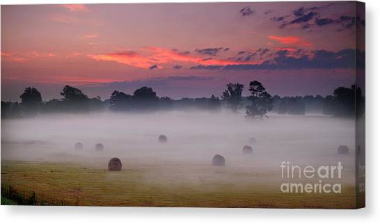 Canvas Print featuring the photograph Early Morning Sunrise On The Natchez Trace Parkway In Mississippi by T Lowry Wilson