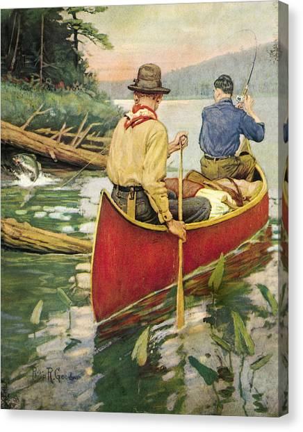 Canoes Canvas Print - Early Morning Thrill by JQ Licensing