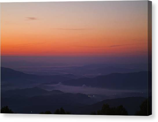 Early Morning Valley Fog Canvas Print by Michael Whitaker