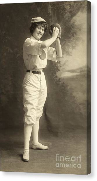 Baseball Players Canvas Print - Early Portrait Of A Woman Baseball Player by American School
