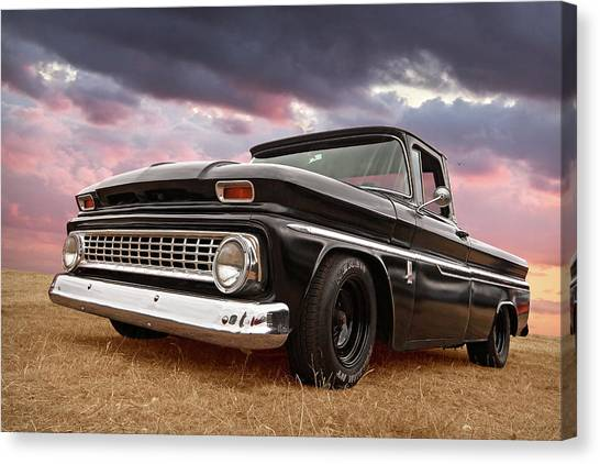 Prairie Sunsets Canvas Print - Early Sixties Chevy C10 At Sunset by Gill Billington